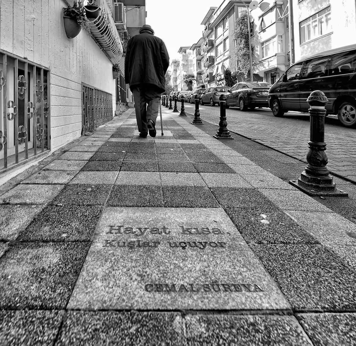 Day 11 —Kadıköy - Poet Cemal Süreya's poems immortalized in the pavement stones of Cemal Süreya Street in Kadıköy.
