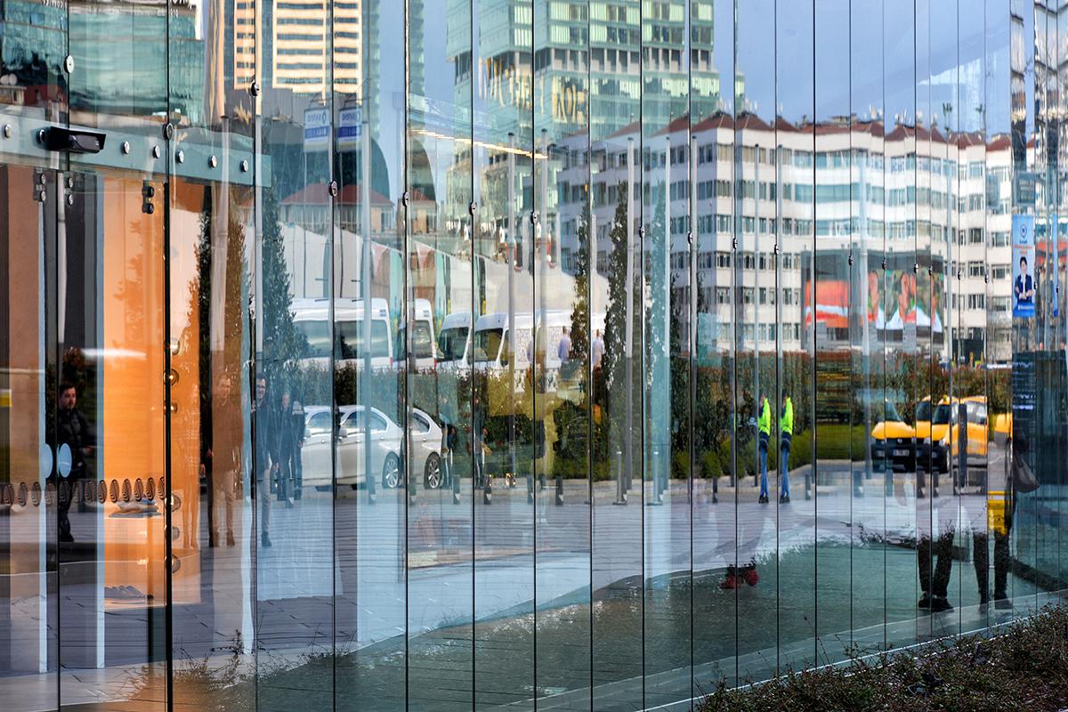 #64 —Beşiktaş –  Reflections in the glass facade of the Zorlu Center.