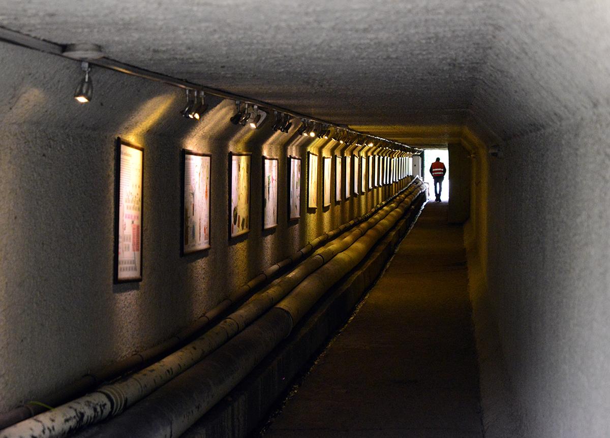 #77 —Ataşehir –  Subterranean connecting tunnels beneath the Nezahat Gökyiğit Botanic Garden. Tunnels are used as a gallery.