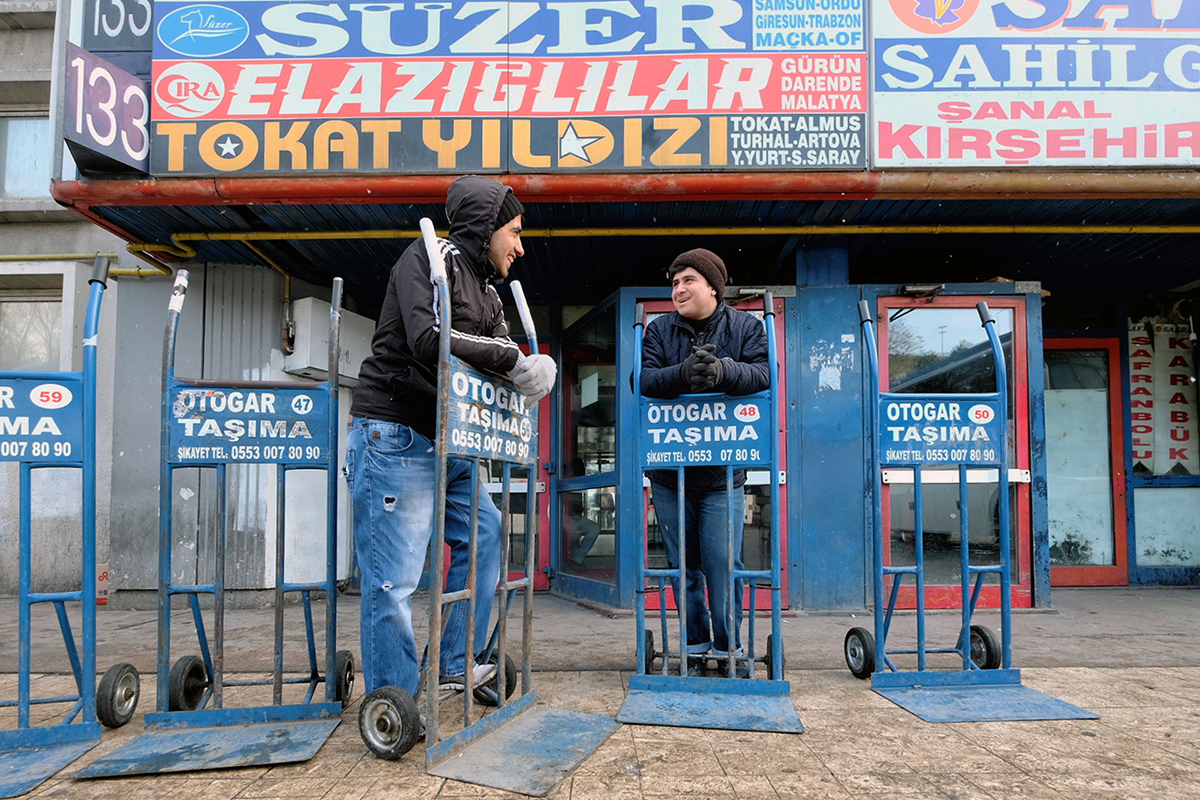 Day 25 —Esenler Bus Station -16 year-olds Can Yakut and Ekrem Erten from Van. This pair were born and grew up in Istanbul and have worked at Esenler Station for 9 years.