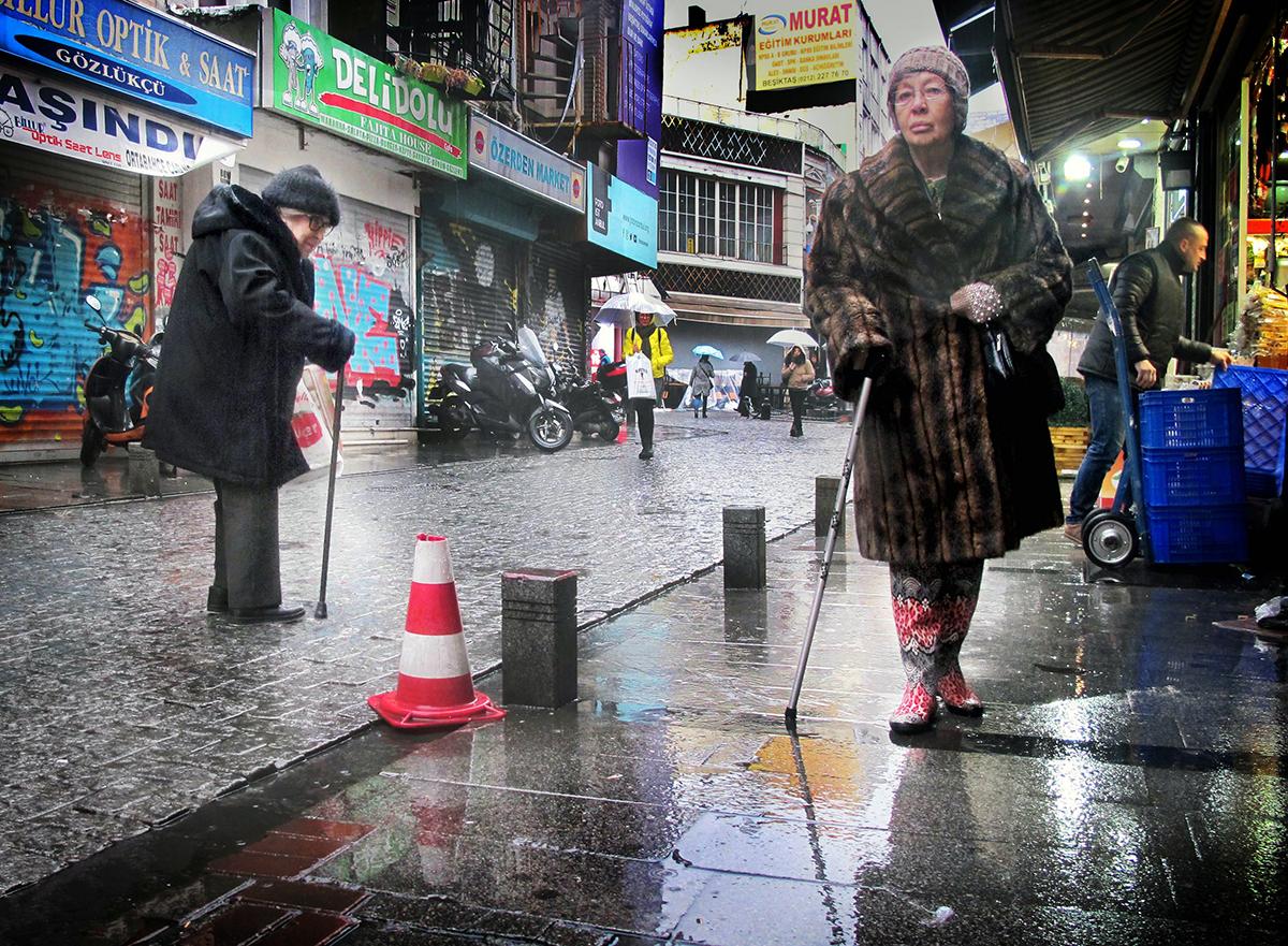 #364 —Beşiktaş –  Mrs. Müberre walks every day come rain or cold and here she wanders through Beşiktaş market.